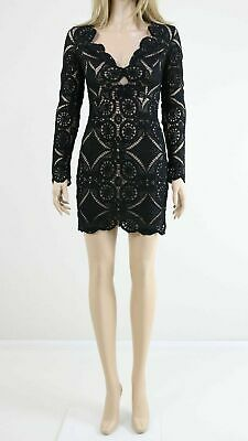 13ad618ef6 Love Triangle V Neck Black Mini Party Cocktail Dress In All Over Lace UK 8