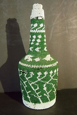 Great Green and White Hand Beaded Bottle with Cork Stopper