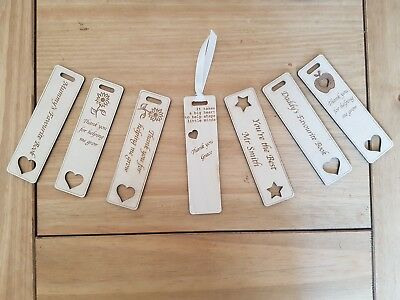 Customisable engraved bookmarks with ribbons, teachers, parents, end of school.