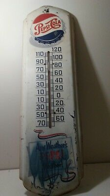 Vintage 1950's PEPSI COLA Soda Pop Gas Station Metal THERMOMETER Sign 27 Inches