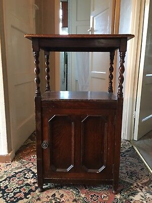 Antique mahogany Bedside/telephone/side Table, Cabniet Barley Twist 1930's 40's
