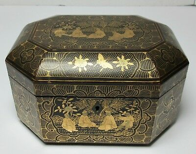 Antique CHINESE LACQUER GOLD GILT BOX or TEA CADDY 19th Century