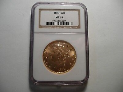 1893 $20 Very Choice Pcgs Ms63 Liberty Head Double Eagle, Only 794 Graded! Rare!