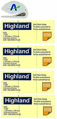 Highland 6539YW Self-Stick Notes, 1.5 x 2 inches, Yellow, 100-Sheet per Pad (...