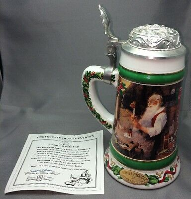 Longton Crown Stein Santa's Workshop By Norman Rockwell Christmas Collection