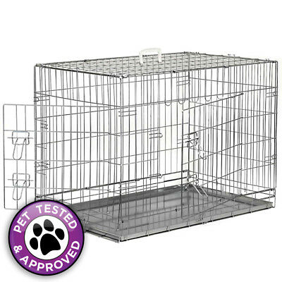 Portable Folding Metal Wire Dog Crate Cage Pet Kennel Pen - Silver