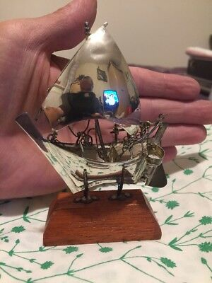 Very Nice Vintage Solid Silver Stamped 925 SHIP On Wooden Plinth