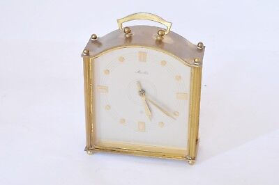 Vintage Brass Mauthe Bell Chime German 8-Day Wind-Up Mantel Carriage Clock
