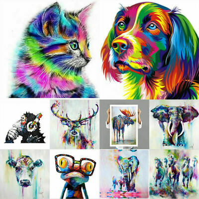 Colorful Square Modern Art Abstract Animal Wall Oil Painting Canvas Unframed