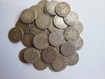 Lot Of 40 Pre 1920 Canada Stering Silver 25 Cent Coins, Conditions Vary