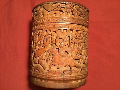 Antique Qi'ing 19/ 20Th Chinese Bamboo Wood Canton Carved Tea Caddy Box Carving!