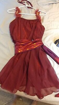 Red Modern Dance Costume Size Large Adult
