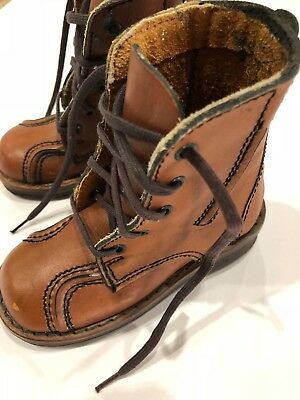 The Vintage Baby Shoes / Boots Brown Lace Up NOS 6 1/2 Whirly Bird Brazil