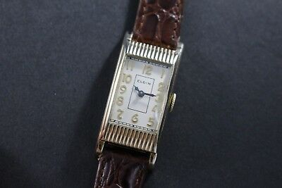 1937 Elgin Engraved Tank Style Fancy Ribbed Case Art Deco Men's Vintage Watch