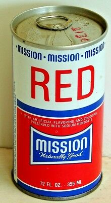 Mission Red; Mission of California; New Haven, Conn; steel soda Pop Can
