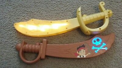 Disney Store Jake and The Neverland Pirates Talking Toy Swords - Brown & Yellow