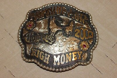 TEAM ROPING TROPHY BUCKLE Ruddy Manufacturing 2003 Silver