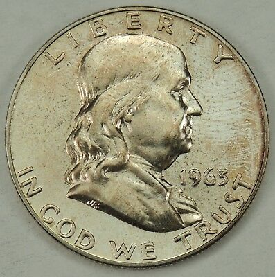 1963 50C Franklin Silver Half Dollar PROOF Reflective w/Copper Toning  (071218)