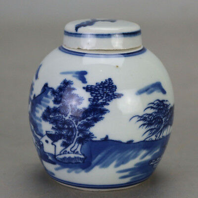 Chinese old hand-carved porcelain Blue and white landscape pattern tea caddy b02