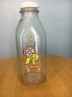 1999 WARNER BROS STAMPAC Tweety Bird MILK GLASS BOTTLE LID