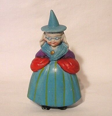 """Vintage Solid Cast """"Granny Good Witch"""" Figurine 5"""" Tall Decorative Marked Japan"""