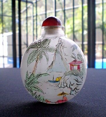 Vtg Tiny Chinese Inside Hand Painted Glass Snuff Bottle Mountains Water Boat