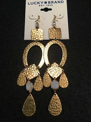 LUCKY BRAND Gold-Tone Hammered Metal & White Stone Statement Earrings NWT L@@K!!