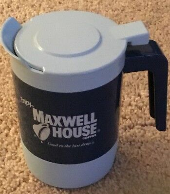 Maxwell House Blue Insulated Coffee Mug W Flip Lid Continental Plastic