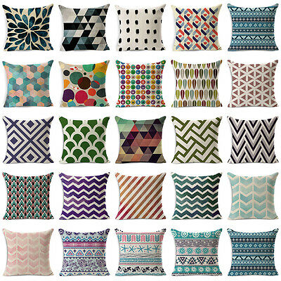 18'' Geometric Vintage Cotton Linen Throw Pillow Case Cushion Cover Home Decor