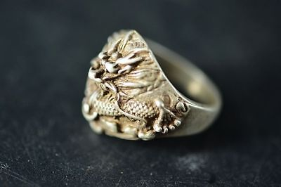Collection Tibetan silver Carved dragon Fingerstall/Thumb Ring  E98