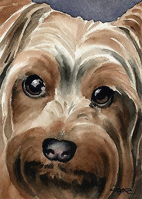 YORKSHIRE TERRIER Dog Painting 8 x 10 ART Print Signed by Artist DJR
