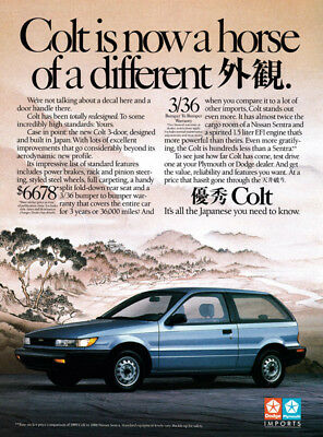 Dodge Colt print ad 1989 ...a Horse of a Different (Japanese writing)
