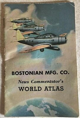 Vtg @ 1940's Advertising Bostonian Mfg. Co. of Fine Shirts World Atlas 14 Pages