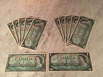 LOT OF 11 1967 BANK OF CANADA $1 bills  AND  1 1954 $DOLLAR BANK NOTE