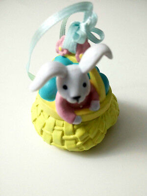 """Avon Busy Bunny Easter Ornament """"Bunny in Basket"""""""