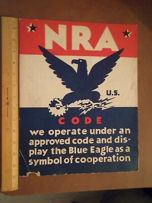 Antique NRA (National Recovery Administration) blue eagle Poster