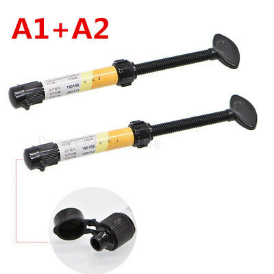 2Pc Dental Denfil Syringe Universal Composite Light Curing Resin Shade A1 + A2