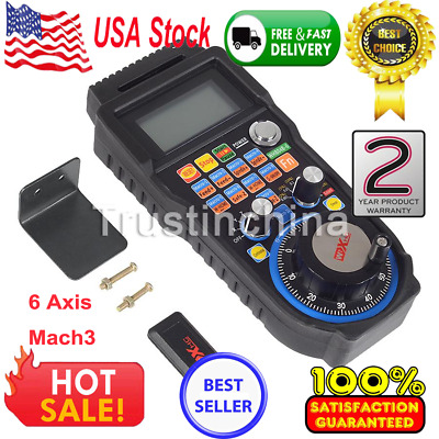 Wireless 6 Axis Mach3 MPG Pendant Handwheel Controller for CNC Machine Lathe US
