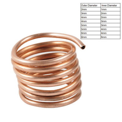 1M Soft Microbore Copper Tube Pipe OD 2~8mm ID 1~6mm For Refrigeration Plumbing