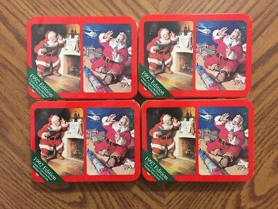 Lot Of 4 NEW 1992 Coca-Cola Nostalgia Playing Cards W/ Tins
