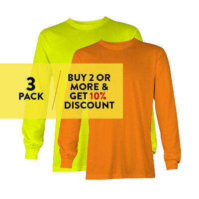 3 Pack Aaa Alstyle Casual Mens Long Sleeve T Shirt Plain Shirts Cotton Tee Work