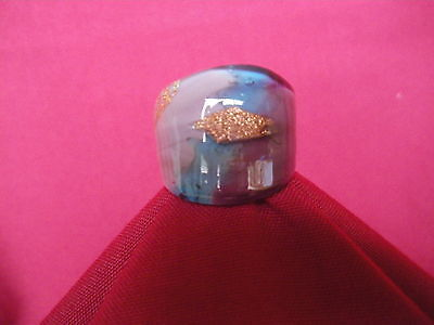 MURANO GLASS RING 24K gold AUTHENTIC handmade in Venice / Italy, certificate #38