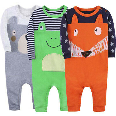 Newborn Baby Boy&Girl Long Sleeve Cartoon Frog Romper Cotton Jumpsuit Outfits