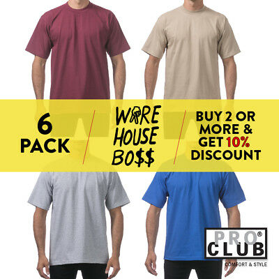 ea043d9d2 6 Pack Pro Club Proclub Mens T Shirts Short Sleeve Shirts Heavy-Weight  Plain Tee
