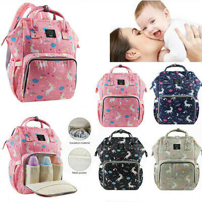 LEQUEEN Mummy Nappy Diaper Bag Large Capacity Baby Changing Unicorn Backpack US