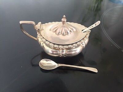 Antique Sterling Silver Mustard Pot 1908 & 2x Condiment Spoons Hallmarked