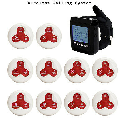New Restaurant Calling Paging System Wrist Watch Receiver+10*Call Buttons Pager