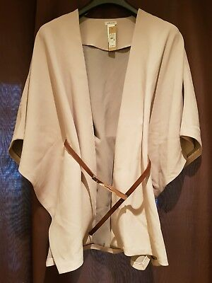 Gorgeous River Island Belted Cape Jacket-Beige/Brown-Size S/M-BNWT-RRP £55