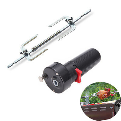 Electric BBQ Motor W/ Metal Roasted Beef Turkey Roaster Rack Forks Camping Tools