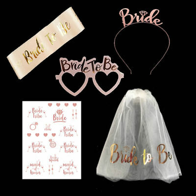 5PCS Rose Gold Bride to Be Set Sash Glasses Tattoos Crown Veil Hen Night Party